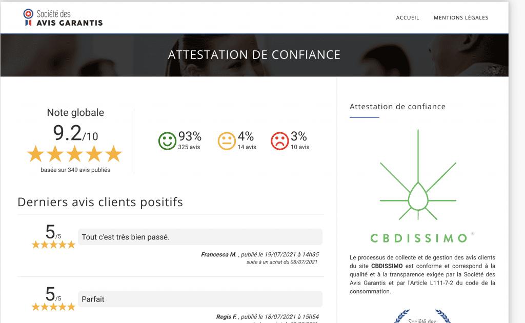 Découvrez les avis sur cbdissimo, la marque de CBD française.
