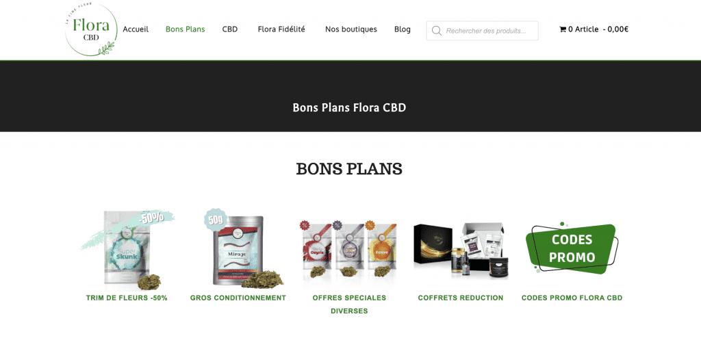 Découvrez la page des bons plans de Flora CBD.