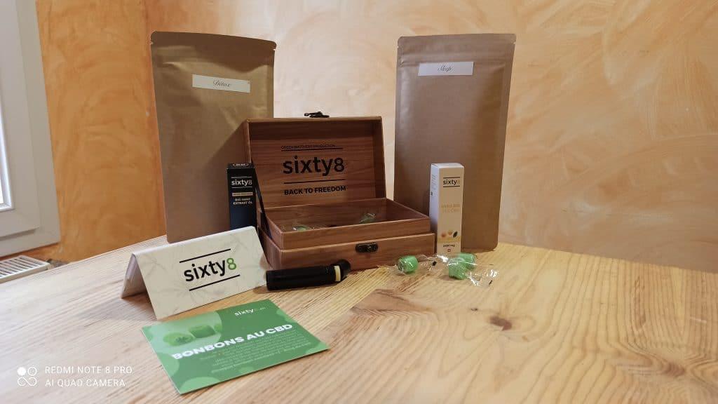 Unboxing de produits de la marque Sixty8, livrant du CBD suisse en France.