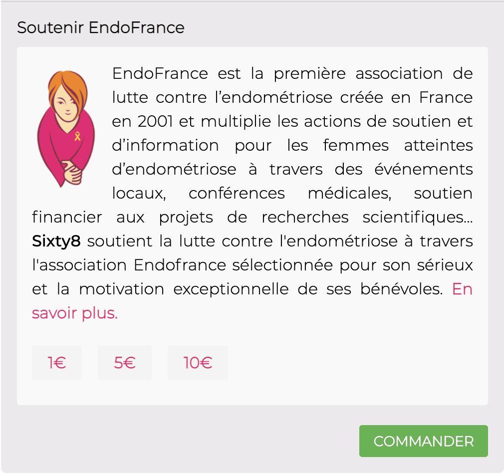 Sixty8, la marque de cbd suisse qui vous livre en France, vous propose de participer au soutien de l'association endo France.